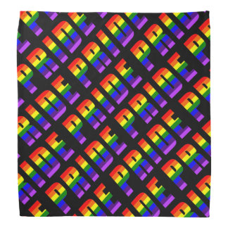 Rainbow Pride Text Art on Custom Black Color Bandana