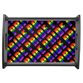 Rainbow Pride Text Art on Custom Black Color Serving Tray