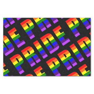 Rainbow Pride Text Art on Custom Black Color Tissue Paper