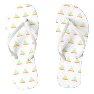 Rainbow Pride Triangle White Women's Flip Flops