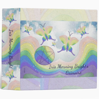 Rainbow Prism Butterfly Pentacle Book of Shadows L 3 Ring Binder