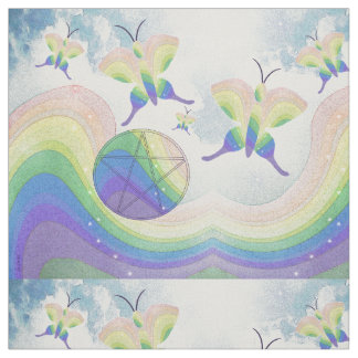 Rainbow Prism Butterfly Pentacle Fabric