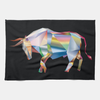 Rainbow Prism Taurus Bull Kitchen Towel