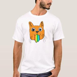 Rainbow Puke Cat Cartoon Hand-drawn T-Shirt
