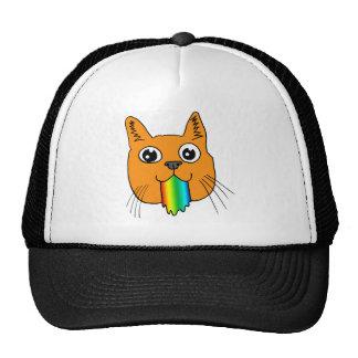 Rainbow Puke Cat Cartoon Hand-drawn Trucker Hat