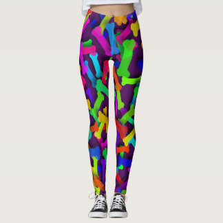 Rainbow Puppy Bones Leggings