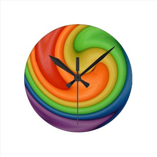 Rainbow Putty Swirl Candy Colours Clock