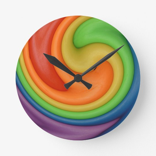 Rainbow Putty Swirl Candy Colours Round Clock