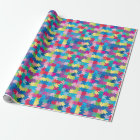 Rainbow Puzzle Pattern Autism Awareness Wrapping Paper