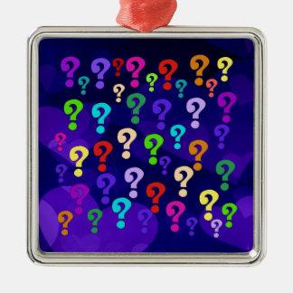 Rainbow Question Marks Metal Ornament