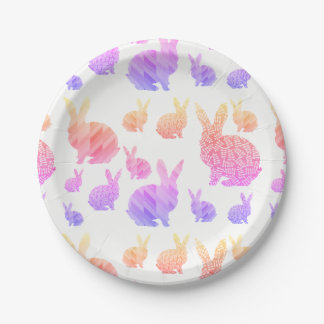 Rainbow Rabbits 7 Inch Paper Plate