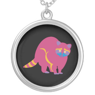 Rainbow Raccoon Silver Plated Necklace