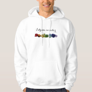 Rainbow rare sea glass, beach glass hoodie