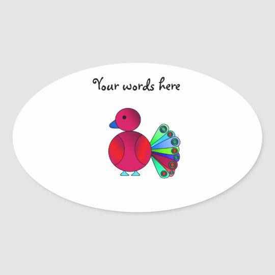 Rainbow red peacock oval sticker
