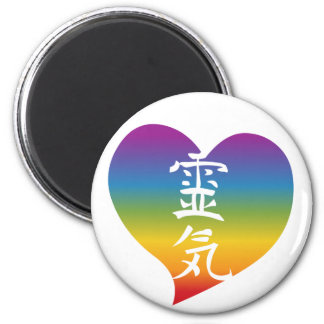 Rainbow Reiki Heart 2 Inch Round Magnet