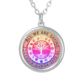 Rainbow Religious Symbols Peace Silver Plated Necklace