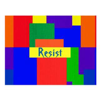 Rainbow Resist Abstract Patchwork Pattern Postcard