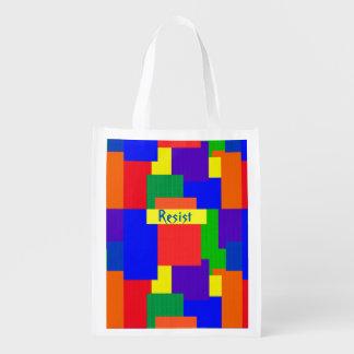 Rainbow Resist Patchwork Quilt Design Market Tote
