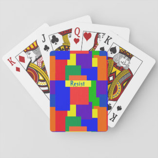 Rainbow Resist Patchwork Quilt Playing Cards