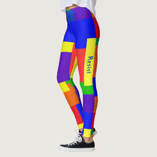 Rainbow Resist Patchwork Textured Quilt Look Leggings
