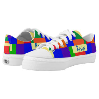Rainbow Resist Textured Quilt Design Low-Top Sneakers