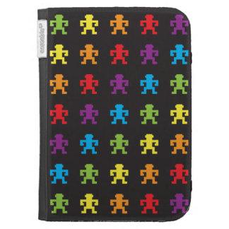 rainbow retro pixel game monkey Kindle case
