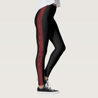 Rainbow Rex Retro Leggings: Slim Red Leggings