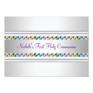 Rainbow Rhinestones Purple White Girl First Commun Card
