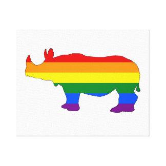 Rainbow Rhinoceros Canvas Print
