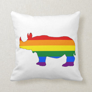 Rainbow Rhinoceros Throw Pillow