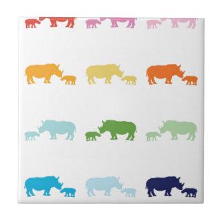 Rainbow Rhinos Tile