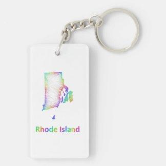 Rainbow Rhode Island map Double-Sided Rectangular Acrylic Keychain