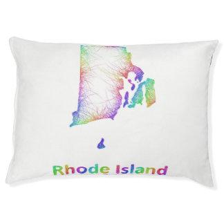 Rainbow Rhode Island map Large Dog Bed