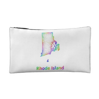 Rainbow Rhode Island map Makeup Bags