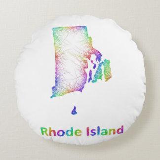 Rainbow Rhode Island map Round Pillow