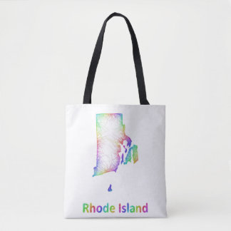 Rainbow Rhode Island map Tote Bag
