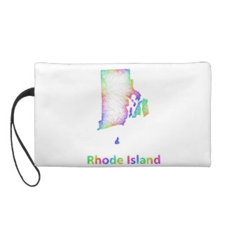 Rainbow Rhode Island map Wristlet Clutches