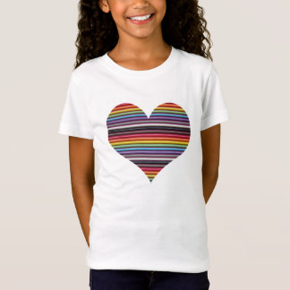 Rainbow Ribbon Cable Heart Girl's T-Shirt