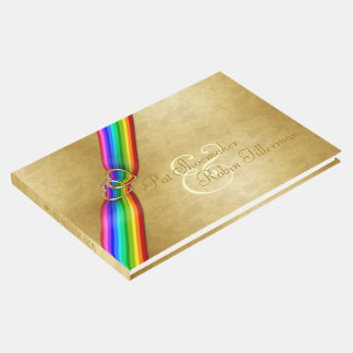 Rainbow Ribbon Double Hearts Wedding Guestbook #2