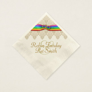 Rainbow Ribbon Double Hearts Wedding Napkin 12C Paper Napkin