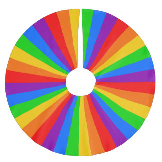 Rainbow Ring of Primary Color Stripes Brushed Polyester Tree Skirt