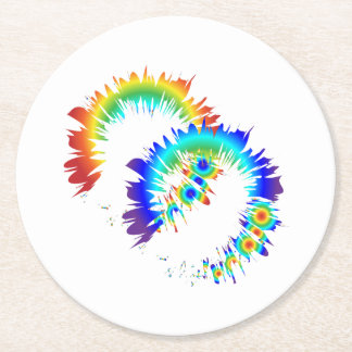 rainbow rings round paper coaster