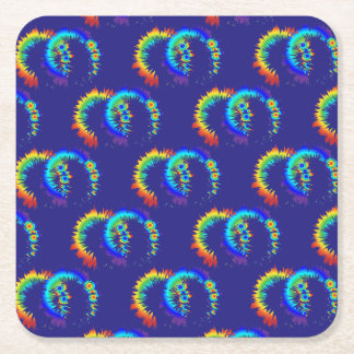 rainbow rings square paper coaster