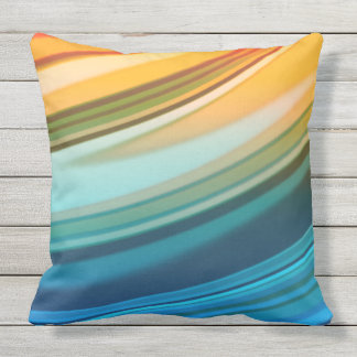 Rainbow Ripples Outdoor Pillow