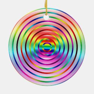 Rainbow Ripples Round Ceramic Ornament