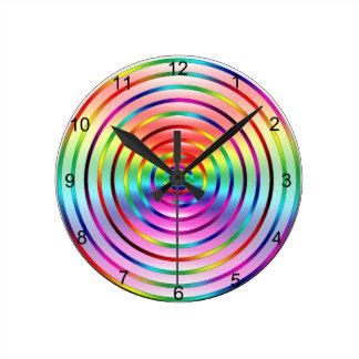 Rainbow Ripples Round Clock