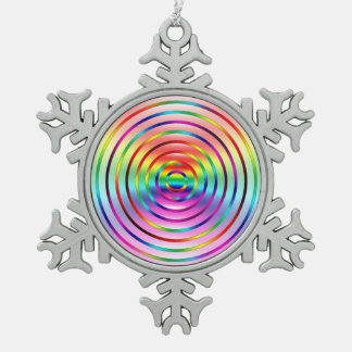 Rainbow Ripples Snowflake Pewter Christmas Ornament