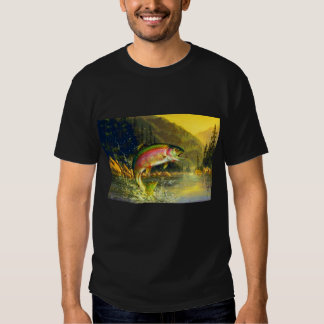 Rainbow River Trout Jumping for that Bug T-shirts