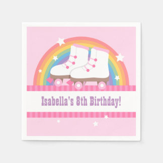 Rainbow Roller Skating Birthday Party Supplies Paper Napkins