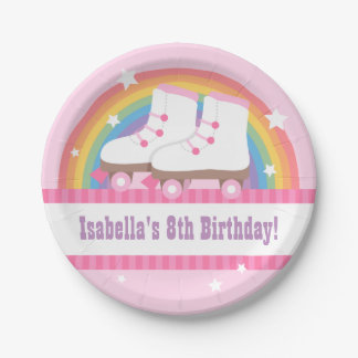 Rainbow Roller Skating Birthday Party Supplies Paper Plate